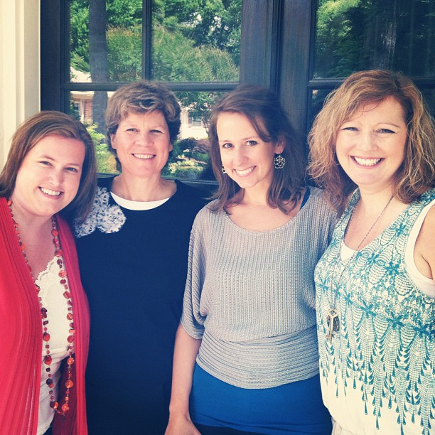 The Revell team came to visit in June 2012. Here we are on my front porch: Jen Leep (Editorial Director), Andrea Doering (my editor), me, and Twila Bennett (Director of Marketing)