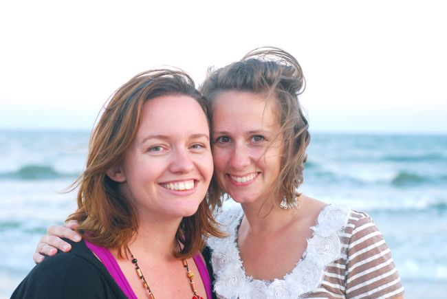 Tsh and me with short hair at the beach in 2011.
