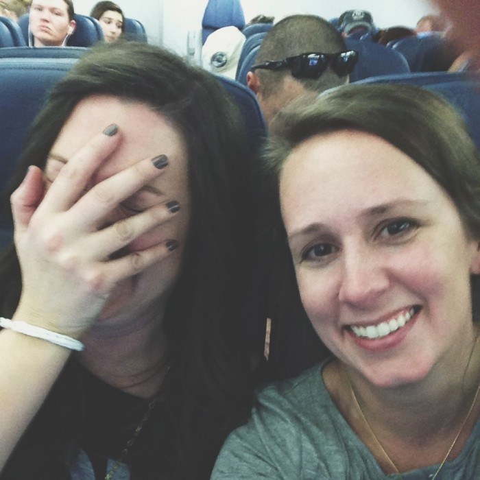 sisters on a plane