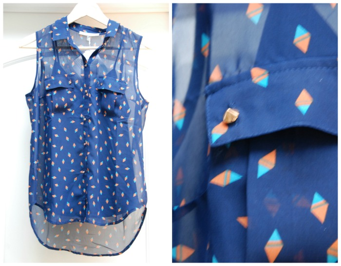Daniel Rainn Braxtin Triangle Print Stud Button Blouse
