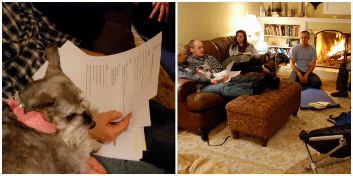Sharing our goals in my living room in January 2009.